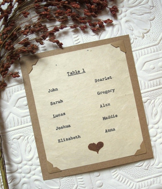 Rustic Wedding Seating Chart Ideas: Items Similar To Wedding Table Seating Chart Card, Wedding