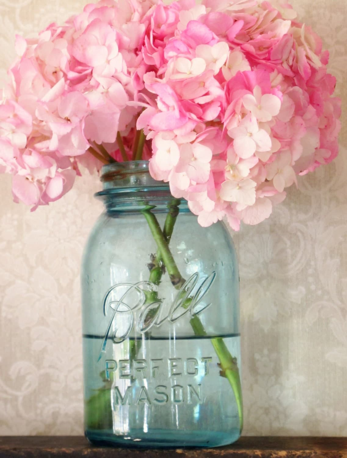 Perfect blue mason jar w zinc lid quart size rustic by