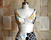 vintage 60s floral print bikini  m/l