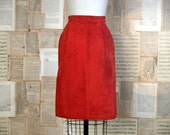 vintage 80s tomato suede skirt s/m