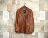 vintage 70s tan leather blazer m