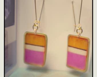 Rothko orange/pink earrings