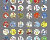 Dr Suess 1 Inch Circle Digital Collage Sheet for Jewelry and Scrapbooking