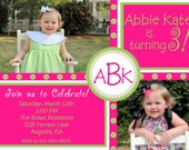 Preppy Girl - A Pink and Lime Monogrammed Photo Birthday Invitation - Digital File