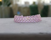 Amethyst and Gold Netted Seed Bead Bracelet