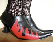 Flame Fire Devil Ankle Boots, size 6, 7