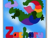 Wooden Name Puzzle | Flying Dinosaur Dragon