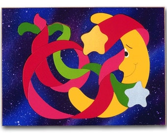 Wood Childs Puzzle   Moon and Stars