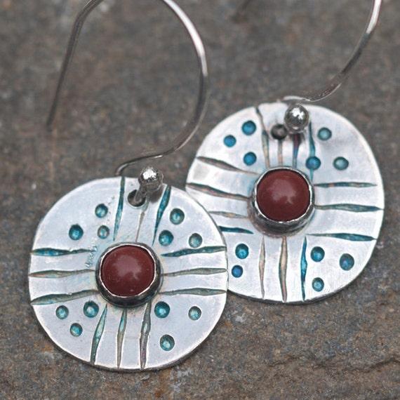 Casual Red Jasper Earrings, Sterling Silver Earrings, Southwestern Style Earrings, recycled silver, Four Directions