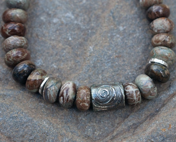 RESERVED for rubyrabbit13 Snakeskin Jasper and Silver Beaded Bracelet - From the Earth - lovely earthtone colors