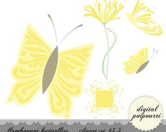 buy2get1 clipart set - flamboyant butterflies in yellow
