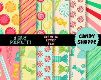 buy2get1 digital scrapbooking paper pack for scrapbooking, card making, printing - candy shoppe