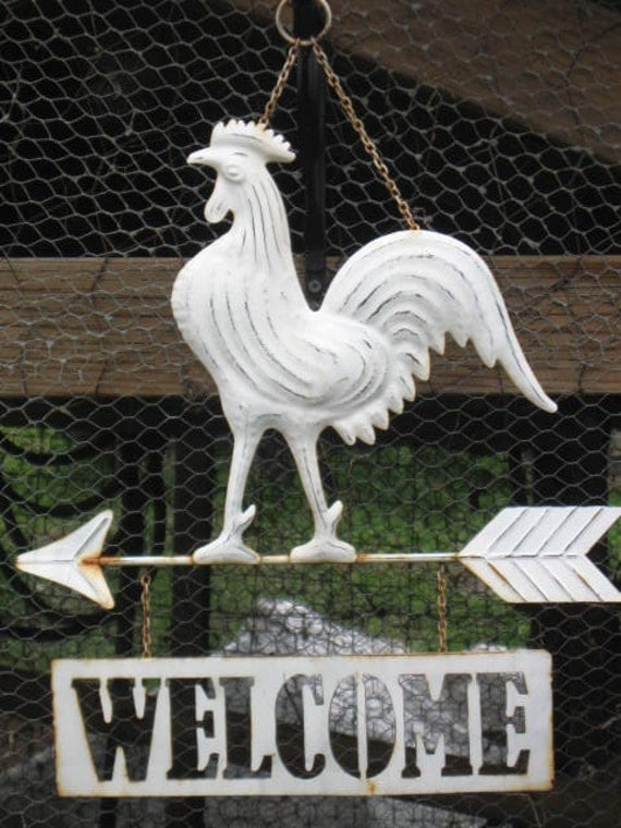 Rooster Welcome Sign Blank note card by Carla Garloff