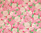 Authentic New Lilly Pulitzer Fabric  2012 Azalea Pink May Flowers 1 Yard x 55 inches