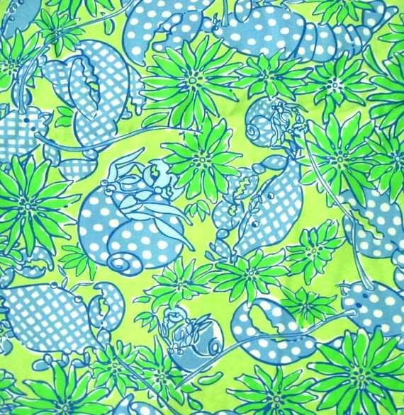 Authentic New Lilly Pulitzer Fabric Seafood Salad 14 inches  x 22 inches
