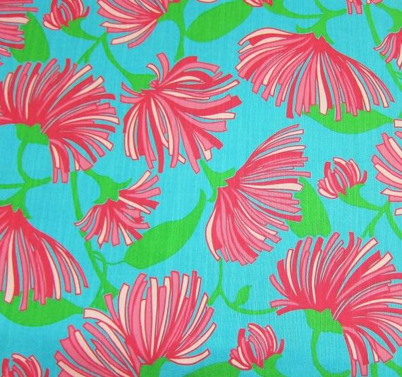 Authentic New Lilly Pulitzer Fabric 2011 Turquoise Kissue 17 inches x 18 inches