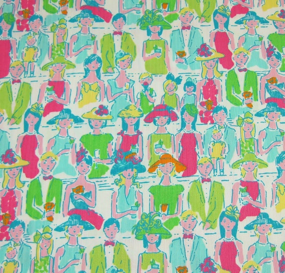 Authentic New Lilly Pulitzer Fabric 2010 Classic White Giddy Up 1 yard x 57 inches