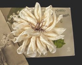 Vintage Style Dahlia Ribbon Flower Pin, Brooch with Vintage Stamens & Leaf