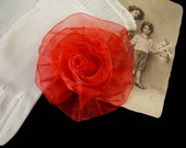 Organza Rose in Red - Handmade Ribbon Flower Pin, Brooch, Hair Clip, Shoe Clips - Pick Your Color