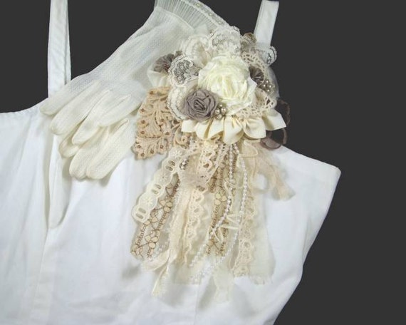 Vintage Lace and Crochet Ribbon Flower Rose Pin, Brooch - Ivory and Taupe - Bridal, Prom, Corsage