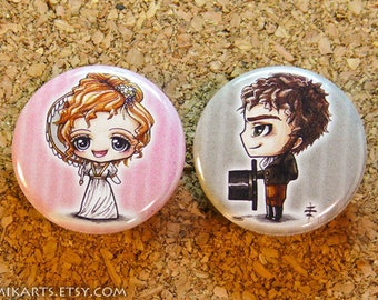 Chibi Pride and Prejudice Elizabeth Bennett Mr. Darcy Pin-back Button Set
