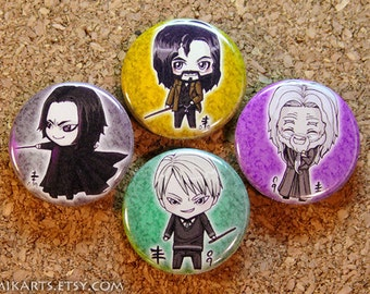 Chibi Dumbledore Sirius Snape Draco Pin-back Button Set
