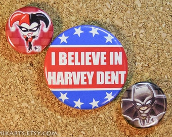 Batman Collection: Chibi Batman Harley Quinn I Believe in Harvey Dent Pin-back Button Set