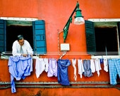 Laundry Art Photos for Interior Design- Venice Ghetto Jewish Hanging Laundry Fine Art Print, Orange, Humour  8x10, by ARTindividual on Etsy