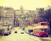 Edinburgh street vintage scene, photos for interior design, Scotland, double-decker, cabs, taxis, old town, polaroid,10x10 by ARTindividual