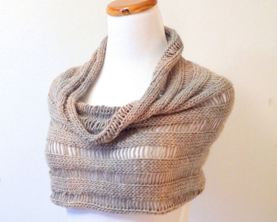 Alpaca & Merino Wool Unraveled Cowl / Hood / Capelet  in Silver Fawn - Ready to Ship