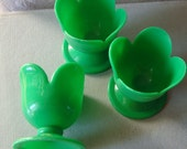 Vintage Scandinavian  retro green  egg cups  made of plastic
