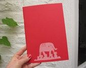 Pink Elephant Notebook, Screen Printed Sketchbook, bright red, 14.8 x 21cm