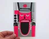 Nutcracker Mini Print, neon pink, original screenprint, 10 x 15 cm