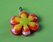 Crazy Daisy...fused art glass pendant