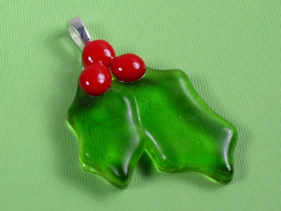 Holly...fused art glass pendant