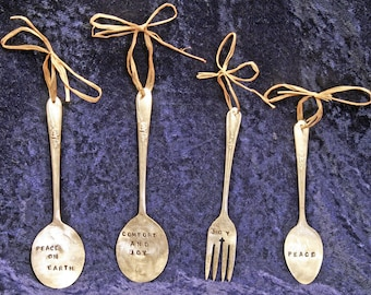 Pick 4  Christmas Silverware Ornaments hand stamped