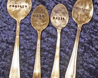 Custom Silverplate Silverware Garden Marker Hand Stamped - Pick 4