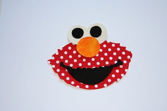 Elmo Sesame Street Birthday Iron On Fabric Applique NO SEW DIY