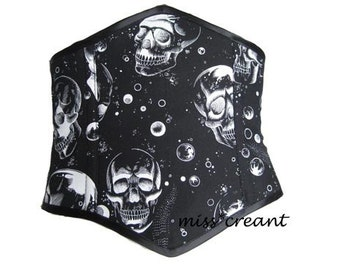 Black Cotton & Astral Space Skull - Steel Boned Underbust Corset - Waspie. Any Size from 18 to 44 inches