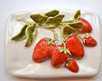 Ceramic Fruit Tile Hand-Sculpted Strawberries