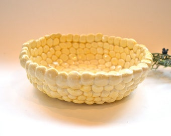 Ceramic Hand Formed Whimsical Bowl Yellow