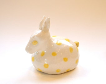 Animal Shaker - Ceramic Yellow Polka Dot Bunny Sculpture
