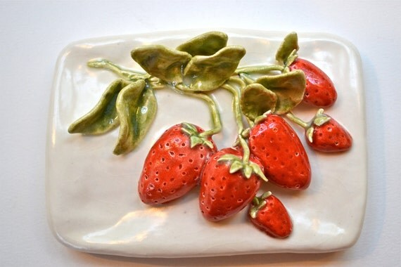 Ceramic Fruit Tile Hand-Sculpted Strawberries
