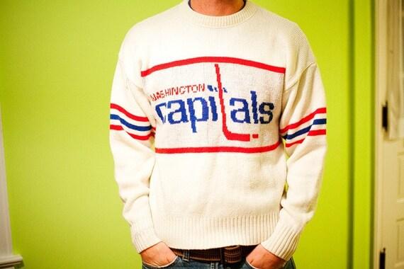 Vintage Washington Capitals Sweater, White, Size Med