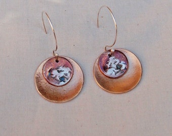 Bronze and Fine Silver Earrings Double Disc Handmade with Red Patina