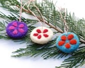 Felted Christmas Ornaments holidays tree festive color purple blue white wool decoration