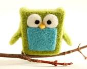 Needle Felted Owl, green blue wool fun whimsical ecofriendly decor lime aqua