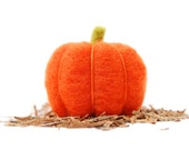 Needle Felted Pumpkin orange wool autumn, thanksgiving, halloween harvest decor eco friendly