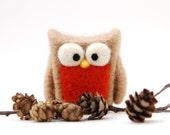 Needle Felted Owl, tan orange rust home whimsical decor play ecofriendly