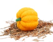 Needle Felted Pumpkin  orange yellow halloween, thanksgiving, harvest, autumn, fall decor